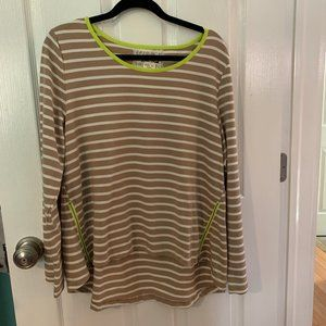 Anthropologie Striped Long Sleeve with Neon Green